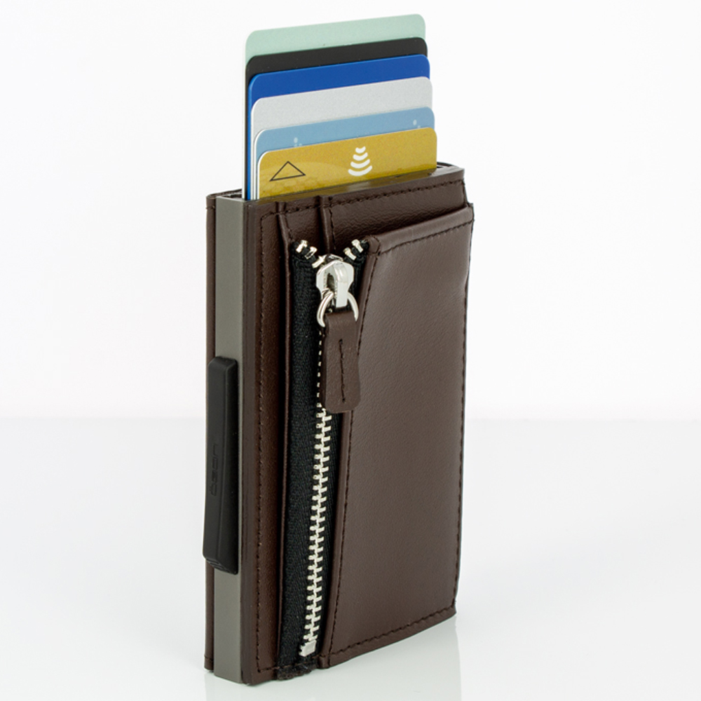 Ögon Cascade Zipper Wallet Titanium Dark Brown
